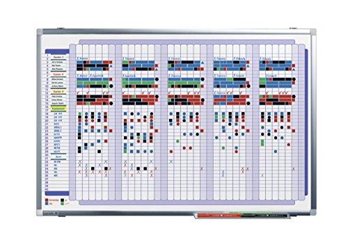 Legamaster 7-410800 Premium Plus multifunctionele planner, whiteboard bedrukt met weekoverzicht met 40 regels, geëmailleerd, 90 x 60 cm