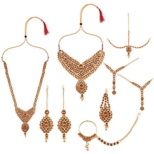 Efulgenz Juego de gargantilla de cristal Kundan de Bollywood de la India para novia, collar y pendientes, cadena de cabeza de Maang Tikka dorado