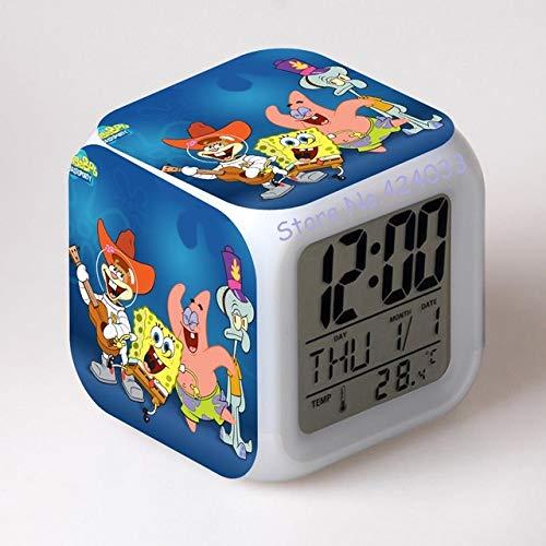 shiyueNB Spongebob Schwammkopf Digital Wecker Farbe LED Uhr Kinder Cartoon Uhr