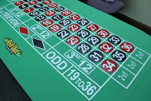 Poker Supplies Premium Roulette Rubber Table Layout with Carrying Bag - Includes Bonus Roulette Marker!