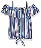 Amy Byer Girls' Button Up Tie Front Off The Shoulder Top, Blue/Apricot Stripes, Small
