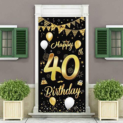 40.Geburtstagsfeier Dekorationen Banner Hintergrund,Schwarzes und Gold Dekoration für Männer und Frauen der 40.Geburtstagsfeier,wesentliche für 40.Geburtstagsfeier,185 × 90 cm (72.8 × 35.4 Zoll)
