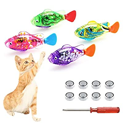 Swimming Robot Fish for cats, Interactive Cat Fish Toys Fish Tank Toy with LED Light Cat Toy&Dog Toy Swimming Bath Plastic Fish Toy, Cat Exercise to Stimulate Your Pet's Hunter Instincts (4 PCS)