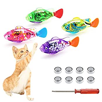 Swimming Robot Fish for cats Interactive Cat Fish Toys Fish Tank Toy with LED Light Cat Toy&Dog Toy Swimming Bath Plastic Fish Toy Cat Exercise to Stimulate Your Pet s Hunter Instincts  4 PCS