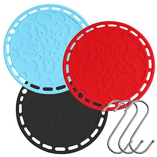 3 Stks grote ronde siliconen Hot Pads met 3 haken, AIFUDA anti-slip hittebestendige Trivet Mat Pot Houders voor Keuken Werkbladen, Tafels, Schaal, Theepot - Rood Zwart Blauw