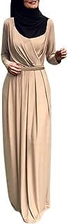 FarJing Muslim Clothes, Women 's Indian Pleated Neck Muslim Dress Burqa Jilab Abaya Robe Cardigan