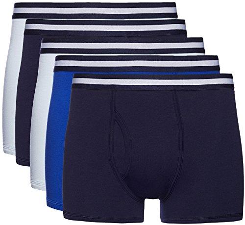 Marca Amazon - find. Calzoncillo Corto de Algodón Hombre, Pack de 5, Multicolor (Navy X2, Wash Blue X2, Royal X1), M, Label: M