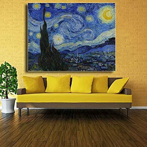 ZWBBO Canvas schilderij Decoratieve schilderijen Kunstenaar Sterren Nacht Landschap Olieverfschilderij Gedrukt Op Doek Poster Print Impressionisme Wandbeeld