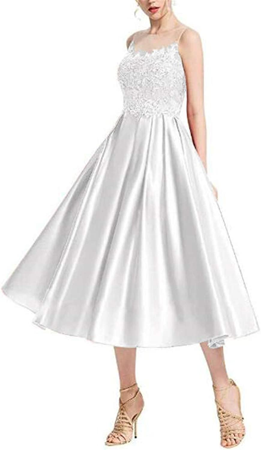 Yuki Isabelle Women's Scoope Neck Lace Applique Illusion Prom Dress Formal Satin Homcoming Party Gowns
