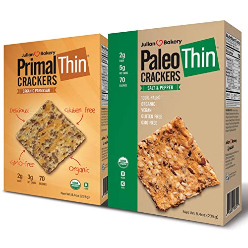 Julian Bakery Paleo & Primal Thin Crackers | Salt & Pepper & Parmesan | USDA Organic | Gluten-Free | Grain-Free | GMO Free | Low Carb | Variety 2 Pack