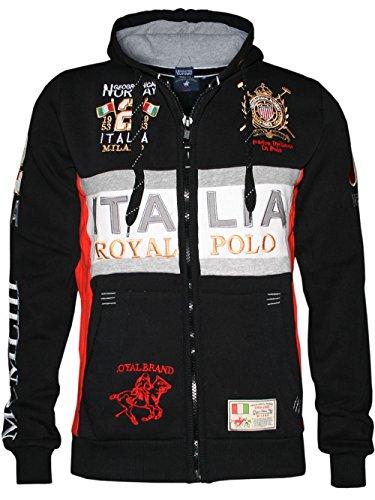 Geographical Norway Herren Kapuzen Hoodie Sweatshirt Track Jacke Milano Royal in Schwarz WK313