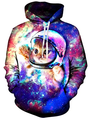 RAISEVERN Sweat à Capuche Space Cat, Unisexe Funny 3D imprimé Cordon Glaxy Hoodies Pulls Sweat à...