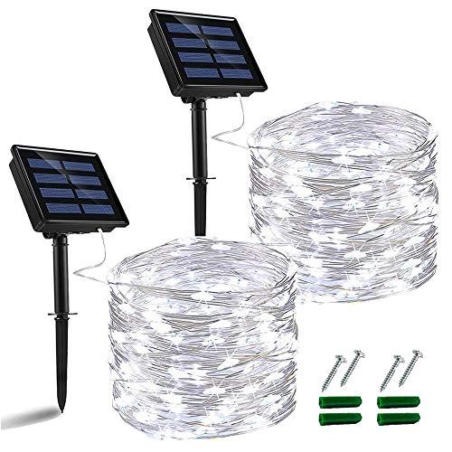 Nurkoo - Guirnalda de luces solares para exteriores, 12 m, 120 ledes,...