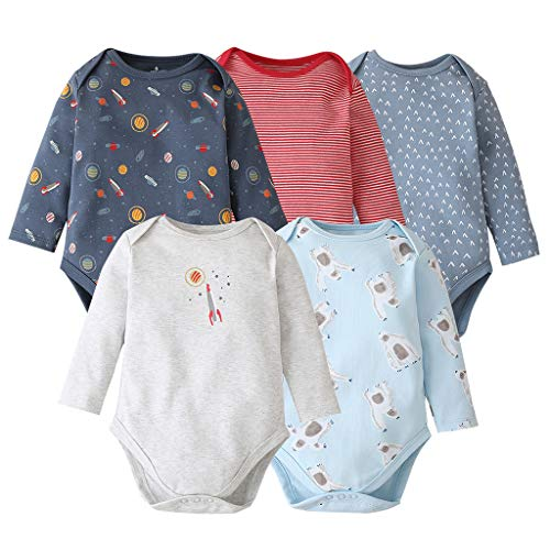 Bebé Body Pack de 5 - Mono Niños Mameluco Manga Larga para Trajes Baño Ropa de Verano Algodón Pelele Gentleman 6-9 Meses