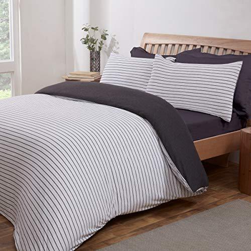 Sleepdown Juego edredón Reversible con Funda de Almohada (135 x 200 cm), Color, algodón poliéster, Gris carbón, Suelto