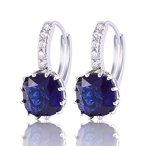 Gulicx, orecchini a cerchio in argento Sterling 925 e zirconia cubica, pietra con taglio quadrato e argento, colore: Blue, cod. SE02B