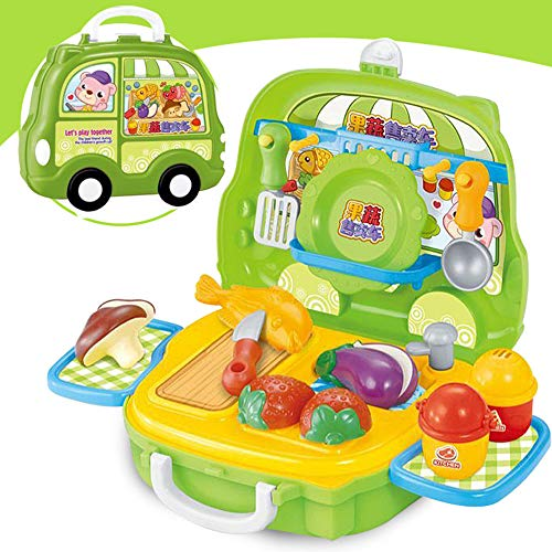 Kids Play House Toys Car Model Portable Cosmetic Case Kids Kitchen Pet Shop BBQ Play Game Tools Set Pretend Toy fit Kids Christmas Best Gift (D)