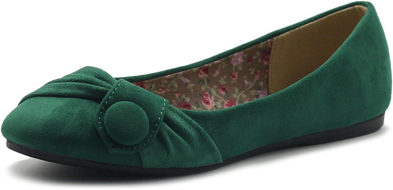 Ollio Womens shoes Faux Suede Decorative Button Ballet Flat ZM1707F (6 B(M) US, Green)