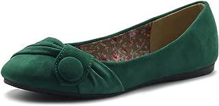 Women's Shoe Faux Suede Decorative Button Ballet Flat