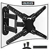 FOZIMOA Full Motion TV Wall Mount Bracket for 28-80 inch Flat Curved TVs, up to 110 lbs and VESA 600x400mm, with Tilt and Swivel Articulating Arms - Single Stud Install