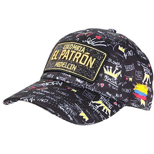 Gorra El Patrón Negro y Dorada con brillantes Streetwear Colombia Medellin Baseball – Unisex Negro Talla única
