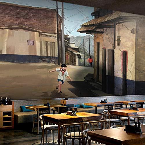 Retro Nostalgie 80Er Jahre Gasse Kindheit Am Straßenrand Tapete String Hot Pot Grill Bar Restaurant Tapete-250 * 175Cm