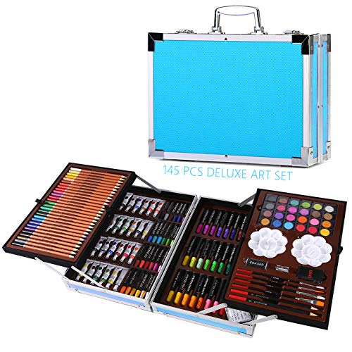 145 Pcs Professional Art Set - Deluxe Art Set Artists Sketching & Colouring Case Supplies Provides...