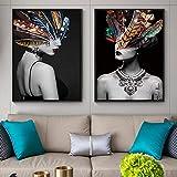 SSHABC Moderno Abstracto Creativo Color Pluma Mujer Arte Lienzo Pinturas Pared imágenes artísticas para decoración de Sala de estar-45x65cmx2Pcs sin Marco