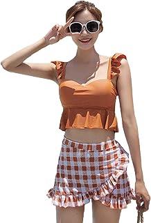 [YOUHA] 水着 レディース ビキニ ハイウエスト 体型カバー ビスチェ風 大きいサイズ 2点セット バスト盛れる ワイヤー フレア フリル かわいい