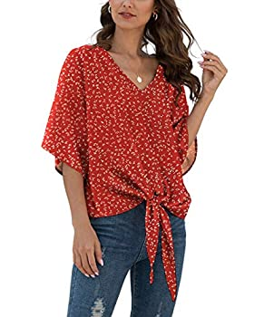 VIISHOW Womens Tie Front Loose Short Sleeve V Neck Floral Blouses Chiffon Tops Summer Shirts Floral red,Large