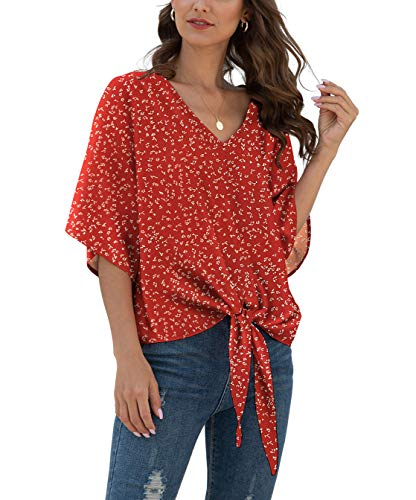 VIISHOW Womens Tie Front Loose Short Sleeve V Neck Floral Blouses Chiffon Tops Summer Shirts(Floral red,Large)