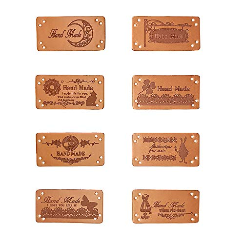 Jurxy 40 etiquetas de piel sintética hechas a mano en relieve con agujeros embellecedores de punto accesorios...