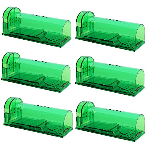 Authenzo Humane Mouse Trap Smart No Kill Mouse Trap Catch and Release, Safe for People and Pet - 6 Pack