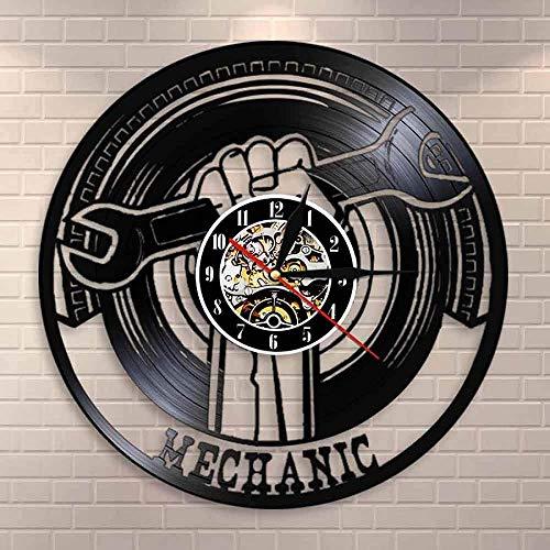 ZZLLL Reloj de Pared de Vinilo para decoración de Garaje, maquinaria Moderna, Servicio de Coche, decoración de Pared, Llave, Reloj de Pared, reparador, Regalo