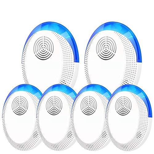 Ultrasonidos Repelente Mosquitos, 6 Pack Ahuyentador de Ratones 100% Seguro para Personas y Animales, para Ratones, pulgas, Mosquitos, cucarachas, Hormigas, arañas [No Tóxico]