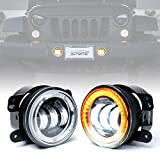 Xprite 4' Inch 60W Cree Led Fog Lights W/ Amber Halo Ring DRL for 2017-2018 Jeep Wrangler JK Led Fog Lamps Bulb...