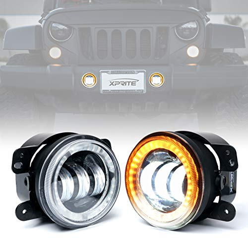 Xprite 4' Inch 60W Cree Led Fog Lights W/ Amber Halo Ring DRL for 2017-2018 Jeep Wrangler JK Led Fog Lamps Bulb Auto Driving Offroad Lamp