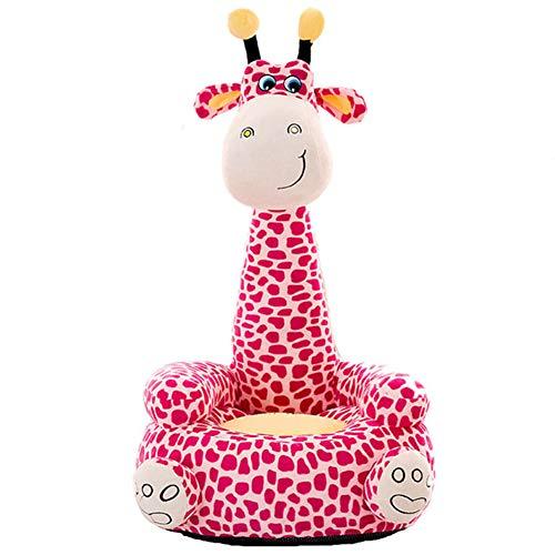 Yzzlh Sofá de jirafa de felpa para niños, silla de bebé, sofá cómodo, silla de animales decoración del hogar muebles de dormitorio (rosa)