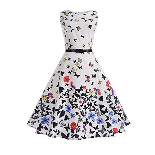 Amazing Deal Women's Vintage Sleeveless Printing Halter Party Prom Swing Dress,1pc Skirt + 1pc Belt ...