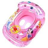Anillo de Natación Asient- Tomicy Flotador de la piscina para bebés Niños pequeños Flotador de natación Bote inflable Anillo de natación Barco de dibujos animados lindo Flotador con volante