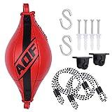 AQF Ballon De Boxe Formation Punching Ball Double End Set pour Boxing MMA dans Haute Qualité Synthétique Cuir avec Toutes Les Pièces Jointes (Rouge)