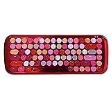 Fesjoy LUSC - Teclado inalámbrico BT, 84 teclas, estilo retro, color mezclado para niñas, compatible con teléfono/PC/portátil/tableta, color rojo con interruptor OUTEMU-BLAR