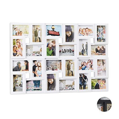 Relaxdays XXL Bilderrahmen Collagen für 24 Bilder in 10 x 15, Hoch- oder Querformat, Kunststoff, HxB 57 x 86 cm, weiß