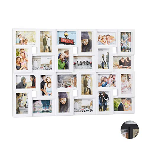 Relaxdays Cadre Photos pêle-mêle collage 24 images, mur, 10 x 15, vertical ou horizontal, galerie, HxL 57x86 cm, Blanc