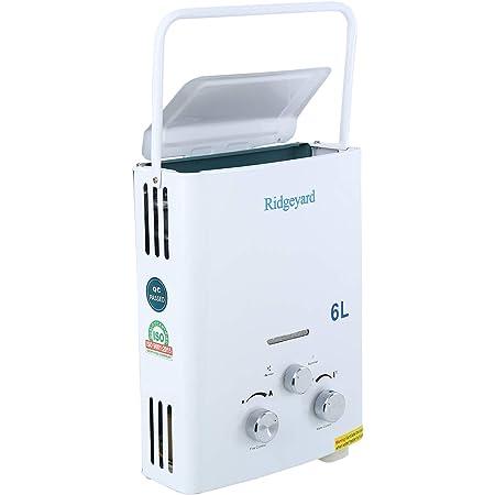 Ridgeyard Calentador de Gas Propano Instantáneo de 6L LPG Depósito de Agua Caliente