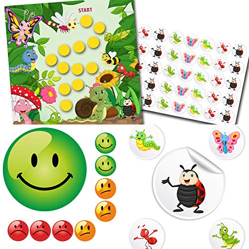 Kinderbelohnung Belohnungssystem für Kinder mit Belohnungsblättchen + extra Aufkleber im Set Fröhliche Insekten + Smiley in 3 Farben