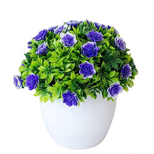 盆栽人工植物メラルーカ鉢植えのフェイクフラワー装飾リビングルームオフィスバルコニーデスクトップの庭の装飾 Liyannan (Color : Purple)