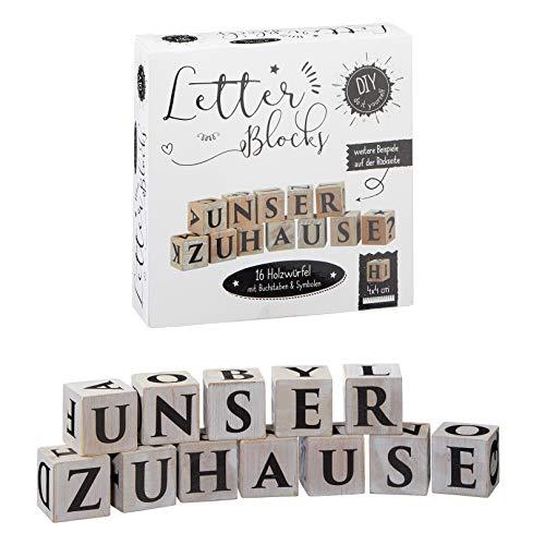 DIY Letter Blocks 16 Holz Würfel mit Buchstaben Symbole zum Selbstgestalten Geschenk Bauklötze 10