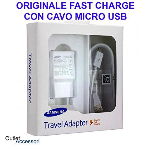 originale Caricatore Caricabatterie Alimentatore Compatibile per Samsung Fast Charger Ricarica Veloce Cavo Micro USB Galaxy S4 S5 S6 S7 Edge EP-TA20EWE