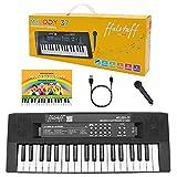 ffalstaff mini tastiera elettronica - uso melodica portatile 37 tasti con microfono, sequencer, diversi tipi di alimentazione, con cavo micro-usb incluso - metodo rapido suona la tastiera (nero)